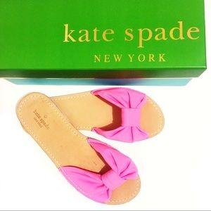 Kate Spade Indi Slide Sandal Pink Leather Bow 9